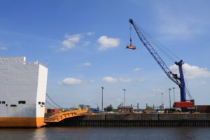 RORO Ship with ramp down